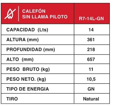 Calefon Rheem 14 Lts Sin Piloto R7 14L Gn