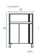Mueble De Baño Schneider Nature 60 Pvc Bco Bte V60Napb