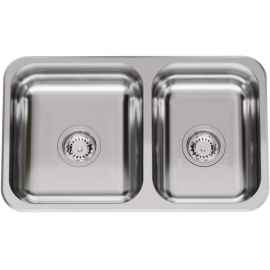 Bacha De Cocina Doble Johnson R63/18 Con Antirrebalse